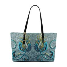 Gold Turquoise Jacobean Floral Embroidery Euramerican Tote Bag/Large (Model 1656)