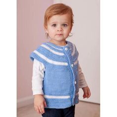 """Skill Level Advanced Sizes  12m (2y, 4y, 6y) Finished Measurements Chest 22 (24, 26, 28)"""" [56 (61, 66, 71)cm] Materials Premier Yarns® Deborah Norville Collection® Everyday Soft Worsted • 100-05 Baby Blue—1 (1, 2, 2) balls • 100-01 Snow White—1 ball Needles US size 8 (5mm) straight needles or size needed to obtain gauge Extras Tapestry needle, stitch markers, four ½"""" (1.3cm) buttons"""