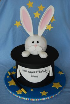 Magic Show Birthday Cake - Hat is cake and bunny is RKT. Thanks for looking