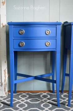 Check out the newly painted Florence tables in Benjamin Moore Blue Suede Shoes! Diy Furniture Hacks, Blue Furniture, Blue Paint, Painted Table, Blue Painted Furniture, Furniture Hacks, Painted Furniture, Blue Table, Painted Drawers