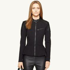 Ralph Lauren Black Label Leather-Trimmed Peplum Jacket      |  @kimludcom