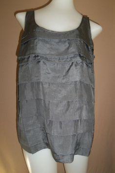 EILEEN FISHER Extra Small Sleeveless Tiered Dark Gray 100% SILK Shirt #EileenFisher #Blouse #Career