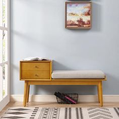 Acorn Wood Mid Century Entryway Bench with Drawer Decor, Furniture, Entryway Bench, Modern Furniture Living Room, Upholstered Storage Bench, Bench With Drawers, Entryway Bench Storage, Storage Bench, Mid Century Entryway