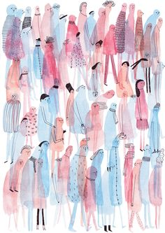 al die mensjes, over elkaar heen valt, dik en dun, lang en kort, aquarel achtig kleuren mooi