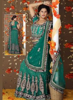 Lehenga Choli - Buy breathtaking lehenga choli design for wedding, party or festive occasions online from Cbazaar's latest collection of bridal, party, and festive wear lehenga. Ethnic Fashion, Indian Fashion, Indian Dresses, Indian Outfits, Long Petticoat, Indian Sarees, Pakistani, Green Lehenga, Beautiful Outfits