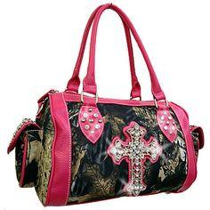 Mossy Oak Satchel Bag With Cross