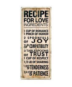 Take a look at this VIP International 'Recipe for Love' Sign on zulily today!