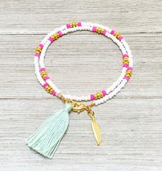 Vibrant Beaded Wrap Bracelet, Boho Stackable Tassel Bracelet, Friendship Bracelet with Gold Feather Charm // Gold, White, Neon Pink