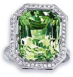 Fine Rare Green Beryl Ring - 18 KARAT WHITE GOLD NATURAL GREEN BERYL, (LIGHT…