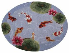 """Koi Fish Pond Area Bath Kitchen Hook Rug with Lotus Flowers 30x40"""" """" - http://www.yourfishguide.com/koi-fish-pond-area-bath-kitchen-hook-rug-with-lotus-flowers-30x40/?utm_source=PN&utm_medium=http%3A%2F%2Fwww.pinterest.com%2Fpin%2F368450813235896433&utm_campaign=SNAP%2Bfrom%2BKoi+Fish+Facts"""