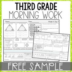 Looking for a way to SPIRAL REVIEW all 3rd grade math standards? Morning Math Work is an excellent way for students to build a strong morning routine. This Morning Work resource includes math, grammar, and cursive practice.Click preview to view 2 FREE weeks.Click here to purchase the bundle and save!MORE Morning Work>> 2nd Grade Morning Work>> 3rd Grade Morning Work>> 4th Grade Morning Work>> 5th Grade Morning WorkMORE 3rd Grade Bundles>> 3rd Grade Morning Work&g...