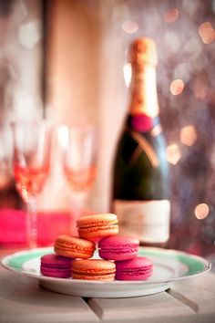French macarons and champagne
