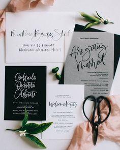 The Paige - Vellum, Black and White Wedding Invitation Suite