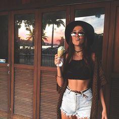 Tumblr, lentes, sombrero, helado