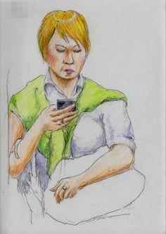 プロデューサー巻きのお姉さん3(通勤電車でスケッチ)の画像 | 浮世のスケッチブック It is a sketch of the woman carrying the shoulder cardigan. I drew on the train going to work towards the company.
