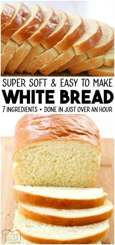 bread recipes White Bread recipe made with basic ingredients amp; detailed instructions showing how to make bread! Done in just over an hour this recipeis one of the best soft white sandwich bread recipes. from BUTTER WITH A SIDE OF BREAD Easy White Bread Recipe, Homemade White Bread, Best Bread Recipe, Homemade Breads, One Hour Bread Recipe, Soft White Bread Machine Recipe, Super Soft Bread Recipe, Bread Recipe For Beginners, Basic Bread Recipe No Yeast