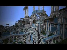 A cinematic showing Adamantis - an enormous fantasy city built in Minecraft. The city is built upon high cliffs from which natural springs and rivers flow, c. Minecraft Videos, Minecraft Projects, Minecraft Stuff, Minecraft Structures, Minecraft Buildings, Fantasy City, Fantasy World, Amazing Minecraft, Minecraft Creations