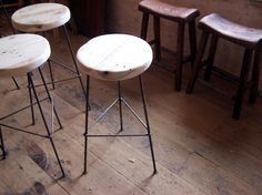 THIS, CUSTOM |||||||   FREE SHIPPING - Reclaimed Wood Bar Stools with Metal Legs // BarnWoodFurniture, can get custom // $150.