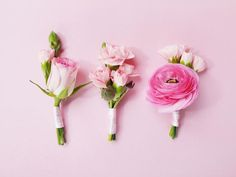 Don't Forget the Groomsmen - Romantic DIY Wedding Ideas on HGTVDon't Forget the Groomsmen Floral trims can also festoon invitations, favors, menus — even your groomsmen. Turn any blooms that did not make it into the centerpieces into unique boutonnieres. Just wrap them in floral tape and cover the tape with a double-satin pink ribbon.
