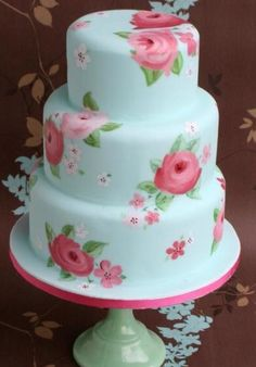 Beautiful Hand Painted Floral Cake