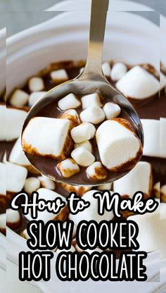 This rich and creamy slow cooker hot chocolate is perfect for any party or special occasion. Don't forget the marshmallows! Best Slow Cooker, Slow Cooker Recipes, Delicious Crockpot Recipes, Yummy Recipes, Yummy Drinks, Yummy Food, Pulled Pork Recipes, Easy Smoothies, Food And Drink