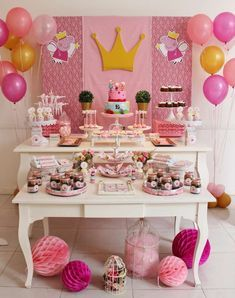 Love this pretty shabby chic Peppa Pig Birthday Party! The dessert table is wonderful! See more party ideas and share yours at CatchMyParty.com #desserttable #peppapig #shabbychic
