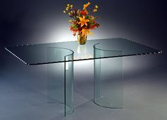 All Glass Dining Room Table double curved all glass dining table base | dining table bases