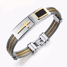 Cross Wire Chain Mens Bracelets - Christian Men Jewelry