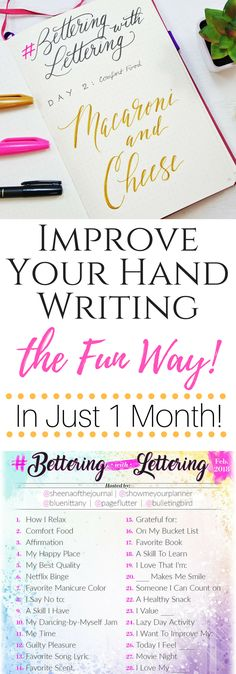 Improve Your Hand Lettering the Fun Way ⋆ Sheena of the Journal Pretty Writing, Fancy Writing, Improve Your Handwriting, Handwriting Practice, Creative Lettering, Brush Lettering, Chalk Lettering, Lettering Ideas, Brush Script