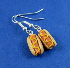 Miniature hotdog earrings made from fimo polymer clay
