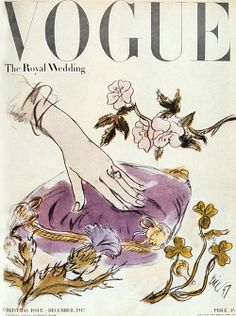 British issue of Vogue, covering the wedding of Princess Elizabeth to Prince Philip in 1947 (via goodqueenlilibet)