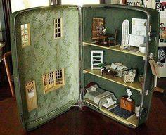 Vintage suitcase dollhouse