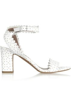"""Pin for Later: Sagt """"Ja, ich will"""" zu diesen Schuhen Tabitha Simmons weiße Sandalen Tabitha Simmons Leticia perforated leather sandals ($695)"""