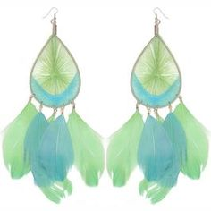 "7 3/4"" Long Feather Earrings with String Woven Teardrop Top in Green with Blue Finish."