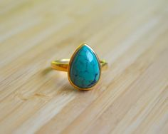 Tibetan Turquoise Pear Shaped Ring Gold Vermeil by DimplesNGuns Gold Rings, Gemstone Rings, Pear Shaped, 3, Shapes, Turquoise, Gemstones, Etsy, Jewelry