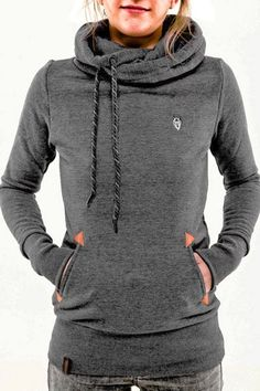 Stylish Hooded Long Sleeve Pocket Design Embroidered Hoodie For Women