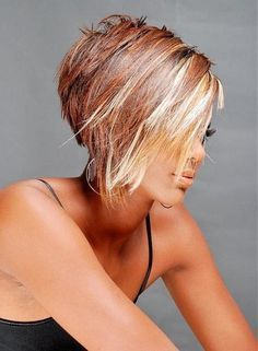 short bob with brown , blonde and red highlights