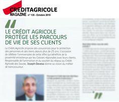 Article sur la bancassurance pour Crédit Agricole Magazine n° 134 (Octobre 2015).