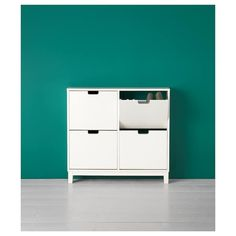 IKEA - STÄLL, Shoe cabinet with 4 compartments, white, Helps you organize your shoes and saves floor space at the same time. The cabinet only has legs at the front so it can stand close up to the wall above the baseboard. of 8 pairs of shoes. Small Storage, Shoe Storage, Locker Storage, Shoe Racks, Diy Storage, Ikea Shoe, Kitchen Installation, Teak Furniture, Baseboards