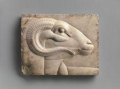 Ram's head relief, Egyptian, (400 B.C.)  The Metropolitian Museum of Art.  NYC.