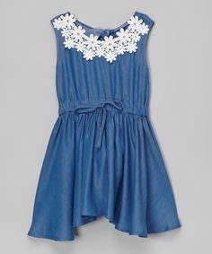 Look what I found on #zulily! Dark Blue Lace Denim Halter Dress - Toddler & Girls by Just Fab Girls #zulilyfinds