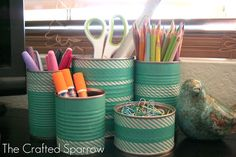 Washi taped tin storage by the crafted sparrow