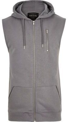 Shop for Mens Grey zip-up sleeveless hoodie by River Island at ShopStyle. Now for Sold Out.