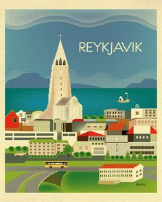Reykjavik, Iceland Vertical Destination Travel Print - Travel Wall Art - for Home, Office, and Nursery - style by loosepetals on Etsy Iceland Travel, Asia Travel, Yoga Holidays, Travel Wall Art, Office Prints, Skyline Art, Art Deco Posters, Vintage Travel Posters, Just In Case