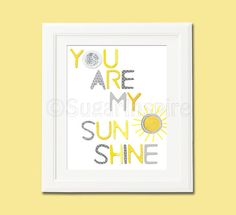 yellow and grey you are my sunshine Nursery Art,  nursery room decor,  8x10, kids room decor, nursery wall decor, yellow and grey