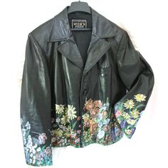 Let the Sun Always Shine on You Blooming Flowers on Black Leather... ($125) ❤ liked on Polyvore featuring outerwear, jackets, black, women's clothing, real leather jacket, black leather jacket, cowboy jacket, genuine leather jacket and leather jacket