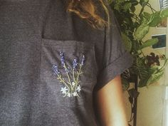 Embroidered Lavender Bouquet Pocket T Shirt by TheArtSwallow