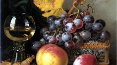 """detail of """"Black grapes"""" by Edward Ladell (English still life master)"""