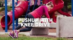 You can do any of these 5 exercises while supervising your kiddos at a playground. Training Plan, Strength Training, Running Magazine, Running Workouts, Running Women, Workout Videos, You Can Do, Playground, Push Up