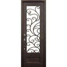 ALLURE IRON DOORS & WINDOWS 72 in. x 96 in. Lauderdale Dark Bronze Classic 3/4 Lite Painted Wrought Iron Prehung Front Door (Hardware Included)-LA7296FRO6ADB - The Home Depot
